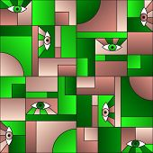 Green Brown Pattern With Eyes In Geometric Shapes Grid 80s And 90s Vintage Fashion Fabric Print. Pat poster