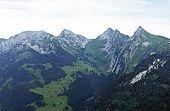 Alpine Mountains Schiberg, Pattenberg, Bruennelistock And Zindlenspitz Above The Alpine Lake Wagital poster