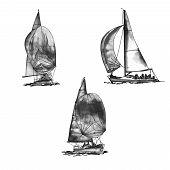 Set Ship Sailing Yacht Boat Antique Vintage Antique Black Ink Hand Drawing Illustration poster
