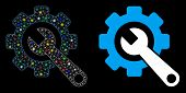 Bright Mesh Gear And Wrench Icon With Glare Effect. Abstract Illuminated Model Of Gear And Wrench. S poster