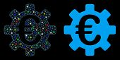 Flare Mesh Euro Machinery Gear Icon With Lightspot Effect. Abstract Illuminated Model Of Euro Machin poster