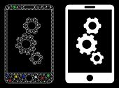 Bright Mesh Smartphone Gears Icon With Glitter Effect. Abstract Illuminated Model Of Smartphone Gear poster