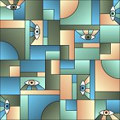 Abstract Pattern With Eyes In Geometric Shapes Grid Mondrian Avant Garde Fashion Textile Print. Mode poster