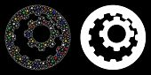 Flare Mesh Internal Gears Icon With Sparkle Effect. Abstract Illuminated Model Of Internal Gears. Sh poster