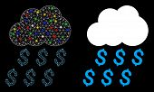 Glowing Mesh Money Rain Icon With Sparkle Effect. Abstract Illuminated Model Of Money Rain. Shiny Wi poster