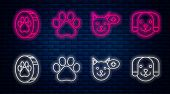 Set Line Paw Print, Veterinary Clinic Symbol, Paw Print And Dog. Glowing Neon Icon On Brick Wall. Ve poster