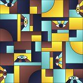 Minimal Pattern With Eyes In Geometric Shapes Grid Mondrian Avant Garde Fashion Textile Print. Moder poster