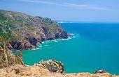 Portugal, The Western Cape Roca Of Europe,  Landscape Of Cape Roca, Atlantic Ocean Coastline View Fr poster