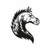 Horse Head Icon Of Black Tribal Animal. Wild Mustang Stallion Or Mare With Curved Neck And Ornamenta poster