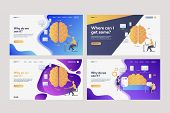 Collection Of Workers Analyzing Efficiency. Flat Vector Illustrations Of Brains, Devices, Infographi poster