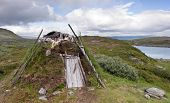 Original Lappish Shelter In Swedish Tundra