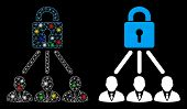 Bright Mesh Lock Managers Icon With Lightspot Effect. Abstract Illuminated Model Of Lock Managers. S poster