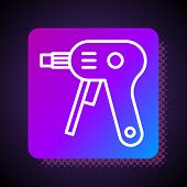 White Line Electric Hot Glue Gun Icon Isolated On Black Background. Hot Pistol Glue. Hot Repair Work poster