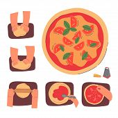 Hands Knead Dough And Making Pizza, Line Drawing Isolated Symbols For Bakery At White Background.sta poster