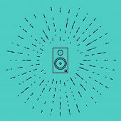 Black Line Stereo Speaker Icon Isolated On Green Background. Sound System Speakers. Music Icon. Musi poster