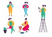 Indoor Floriculture Concept. Woman Gardener Set. Care And Cultivation Of Indoor Plants. The Woman Pr poster