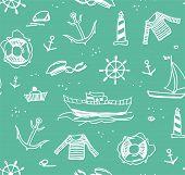 Marine Drawings, Seamless Pattern, Green, Vector/marine Drawings, Seamless Pattern, Green, Vector. S poster