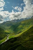 The Furka Pass  is a high mountain pass in the Swiss Alps connecting Gletsch, Valais with Realp, Uri poster