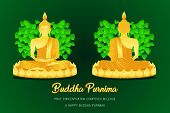 Happy Buddha Purnima Monk Phra Buddha Front - Back View Pray Concentration Composed Release Pho Leaf poster
