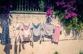Portugal, Lisbon In June, Street Character, Drying Clothes On A Clothesline, Street With Clothes Han poster