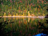 Autumn Mountain Forest Lake House Reflection In Water Landscape.autumn Lake Reflection. Mountain For poster