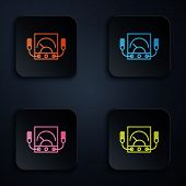 Color Neon Line Ampere Meter, Multimeter, Voltmeter Icon Isolated On Black Background. Instruments F poster