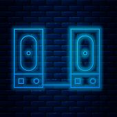Glowing Neon Line Stereo Speaker Icon Isolated On Brick Wall Background. Sound System Speakers. Musi poster