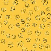 Blue Line Cloud With Rain Icon Isolated Seamless Pattern On Yellow Background. Rain Cloud Precipitat poster
