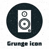 Grunge Stereo Speaker Icon Isolated On White Background. Sound System Speakers. Music Icon. Musical  poster