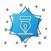 White Line Fountain Pen Nib Icon Isolated On White Background. Pen Tool Sign. Blue Hexagon Button. V poster