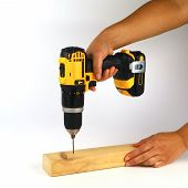 A Female Carpenter Drilling A Pilot Hole In A Piece Of Timber Using A Cordless Drill poster
