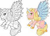 Cartoon Cute Pony Unicorn Coloring Book Funny Illustration poster