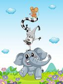 picture of hulahoop  - Illustration of animals performing an act - JPG