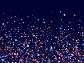 American Independence Day Stars Background. Holiday Confetti In Us Flag Colors For Patriot Day. Vivi poster