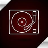 Silver Line Vinyl Player With A Vinyl Disk Icon Isolated On Dark Red Background. Vector Illustration poster