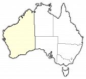 stock photo of australie  - Political map of Australia with the several states where Western Australie is highlighted - JPG