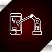 Silver Line Industrial Machine Robotic Robot Arm Hand On Mobile Phone Factory Icon Isolated On Dark  poster
