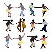 Set Retro Colored Dancing People In A Retro Swing Isolated. People In 40s Or 50s Style Dancing Rocka poster