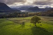 Stunning Aerial Drone Autumn Fall Landscape Image Of View From Low Fell In Lake District Looking Tow poster