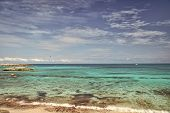 Azure Water Great Stirrup Cay Bahamas. Enjoy Rest Bahamas. Turquoise Ocean Waves At Coast Of Bahamas poster