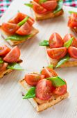 picture of snow peas  - Bruschetta with fresh tomato and snow peas selective focus - JPG