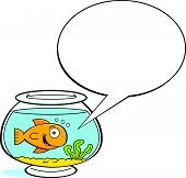 pic of fishbowl  - Cartoon illustration of a goldfish in a fishbowl with a caption balloon - JPG