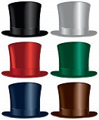 stock photo of vaudeville  - A top hat selection in black gray red green blue and brown colors - JPG