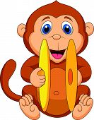 Cute monkey cartoon playing cymbal