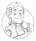 picture of magistrate  - Drawing Art of Cartoon Happy Magistrate Character Vector Illustration - JPG