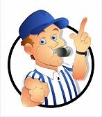 stock photo of referee  - Drawing Art of Cartoon Referee Character Vector Illustration - JPG