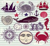 pic of crab  - Vector set of nautical and sea symbols - JPG