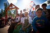 VINNICI, LENINGRAD REGION, RUSSIA - JUNE 10: Unknown children during celebrate the annual holiday Ve