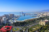 aerial view of the port and the coastline of Malaga city, Spain