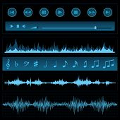 image of waveform  - Notes and sound waves - JPG